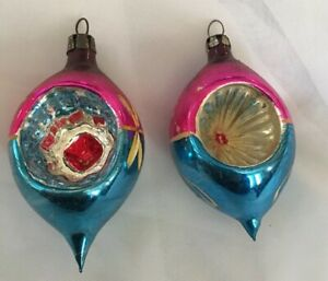 Vintage-Indented-Teardrop-Mercury-Glass-Christmas-Ornament-Pink-Blue-Yellow