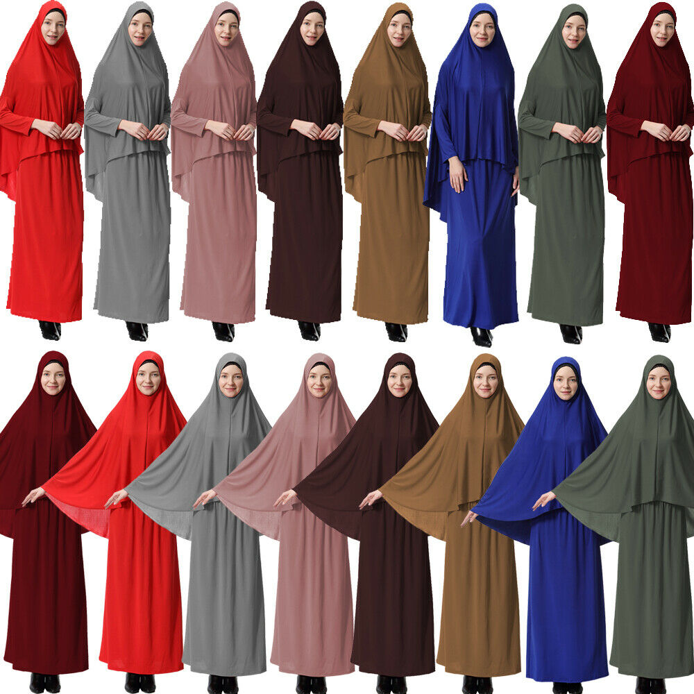 Khimar Jilbab Women Muslim 2 Piece Prayer Dress Hijab Abaya Set Niqab Burqa Robe