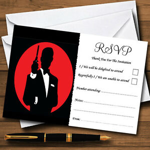 James bond special agent personalised wedding or party rsvp cards ebay image is loading james bond special agent personalised wedding or party stopboris Choice Image