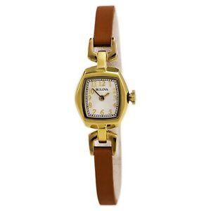 Bulova-Women-039-s-Quartz-Gold-Tone-Brown-Leather-Band-White-Dial-18mm-Watch-97L153