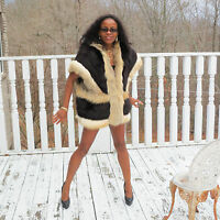 Unique Designer crystal & Black fox fur Vest Sleeveless coat  jacket M 6-12