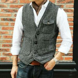 Retro-Mens-Vest-Tweed-Business-Formal-Slim-Fit-Wool-Blend-Dress-Waistcoat-Coat