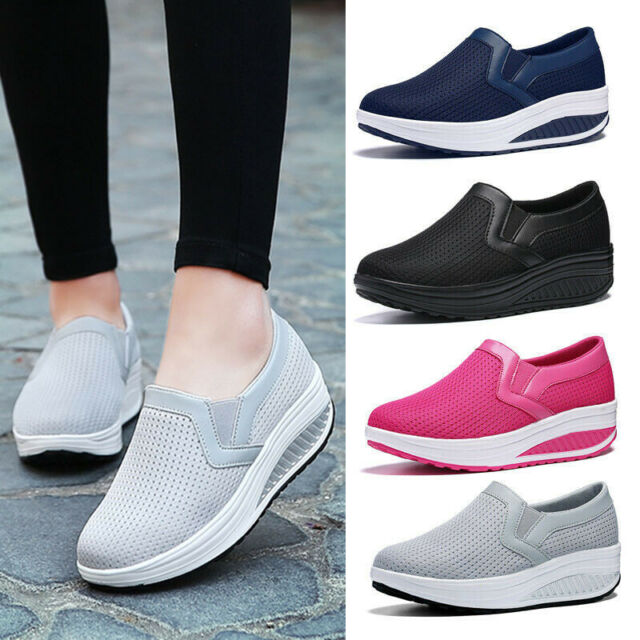 New Women's Wedge Shoes Platform Sneakers Casual Loafers Slip On Mesh Breathable