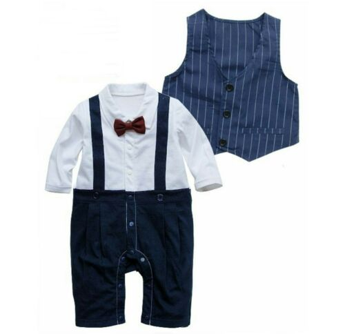 Baby Boy Christening Formal*Wedding*Tuxedo 2pc Smart Design Outfit Free P+P