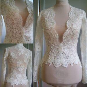 V-neck-Wedding-Bolero-Jacket-White-Ivory-Long-Sleeves-Lace-Bridal-Shawl-Tops