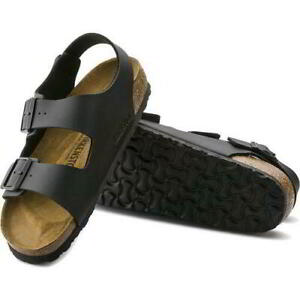 Birkenstock Milano Regular Fit Mens Womens Black Sandals Size 3.5-14.5