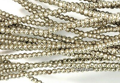 2MM PALAZZO IRON PYRITE GEMSTONE GRADE A ROUND 2MM LOOSE BEADS 16""
