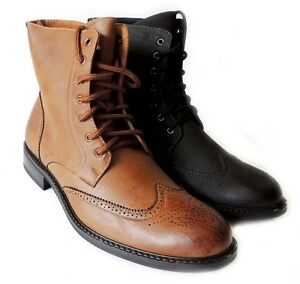 NEW FASHION MENS HIGH ANKLE BOOTS LACE UP OXFORDS WING TIP ...