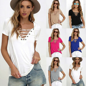 Womens-V-neck-Short-Sleeve-Tee-Casual-T-Shirt-Tops-Blouse-Beach-Shirt-Plus-Size