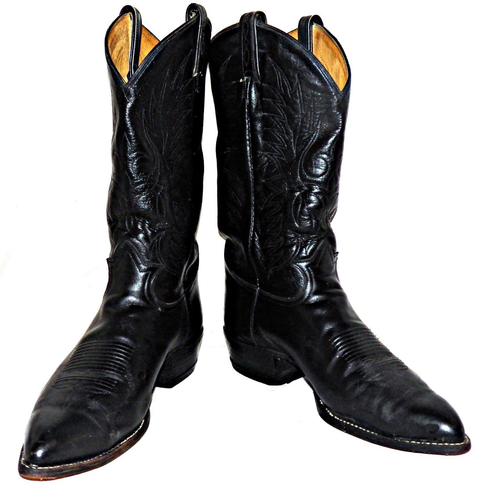 7e1f88d7760 Tony Lama negro Label Western Cowboy botas de cuero de becerro ancho 6711  10-1