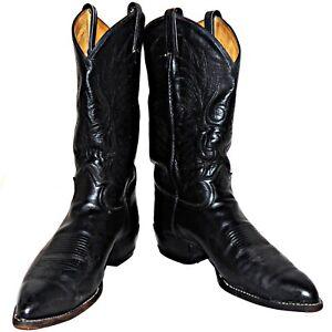 d03b8b6237a Details about Tony Lama Black Label Western Cowboy Boots Calfskin Leather  6711 10-1/2 E Wide