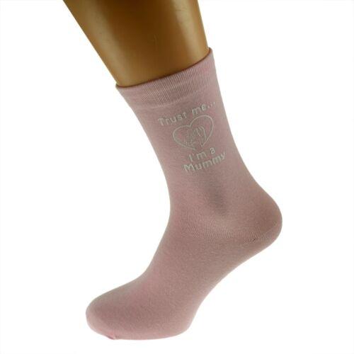 Trust Me I/'m a Mummy Printed on Pink Socks Birthday or Christmas Present