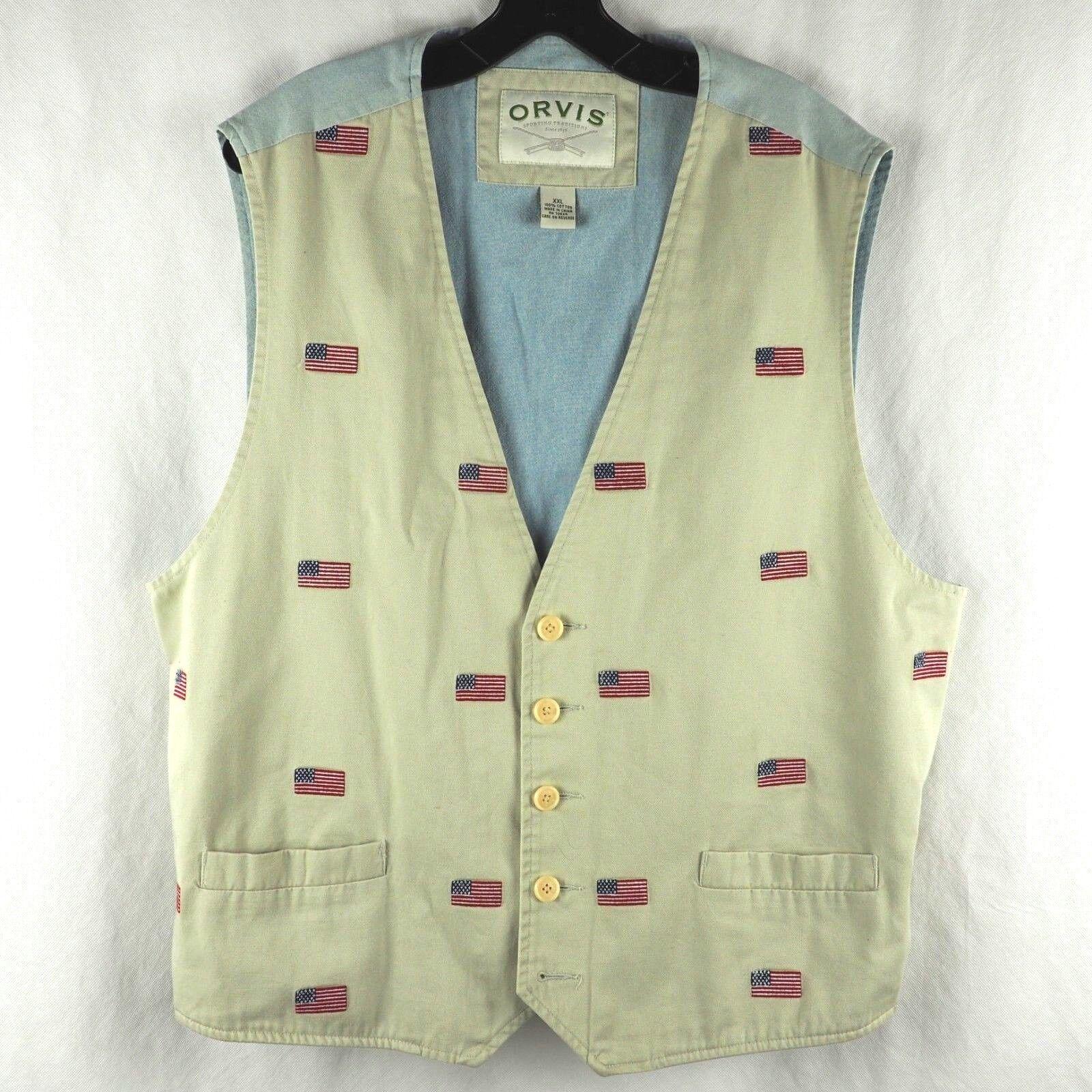 Orvis Men's Vest Fly Fishing USA American Flag Fish Cotton Light Beige bluee XXL