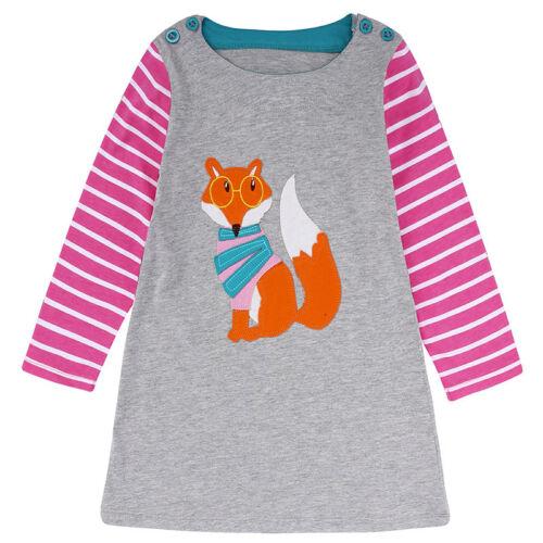 Kinder Mädchen Tier Muster Mini Kleider Sommerkleid Freitzeit Tunika Longshirt