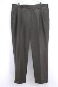 mens-brown-ALAN-FLUSSER-trousers-pants-dress-pleated-front-classic-40-x-32