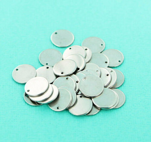 10 Stainless Steel Stamping Tags 13mm MT545 Circle Pendant