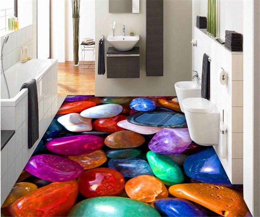 Chromatic Cobble 3D Floor Mural Photo Flooring Wallpaper Home Print Decoration