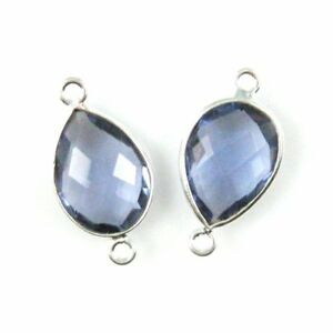 Bezel Gem Links Sterling Silver-Faceted Teardrop Shape-Amethyst Quartz 2 Pcs