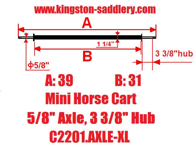 New Mini Size Horse Cart Extra Long Axle 5 8  Axle, 3 3 8  Hub