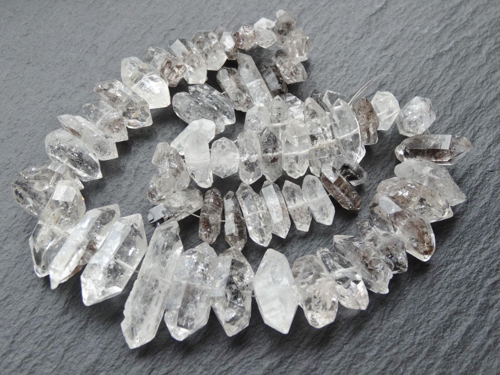 Freiform Herkimer Diamant Quartz 6x14mm - 10x32mm 40.6cm Strang 63 Perlen