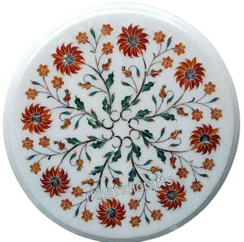 Coffee Table Carnelian Stone Inlay Work Mable Side Table with Floral Art