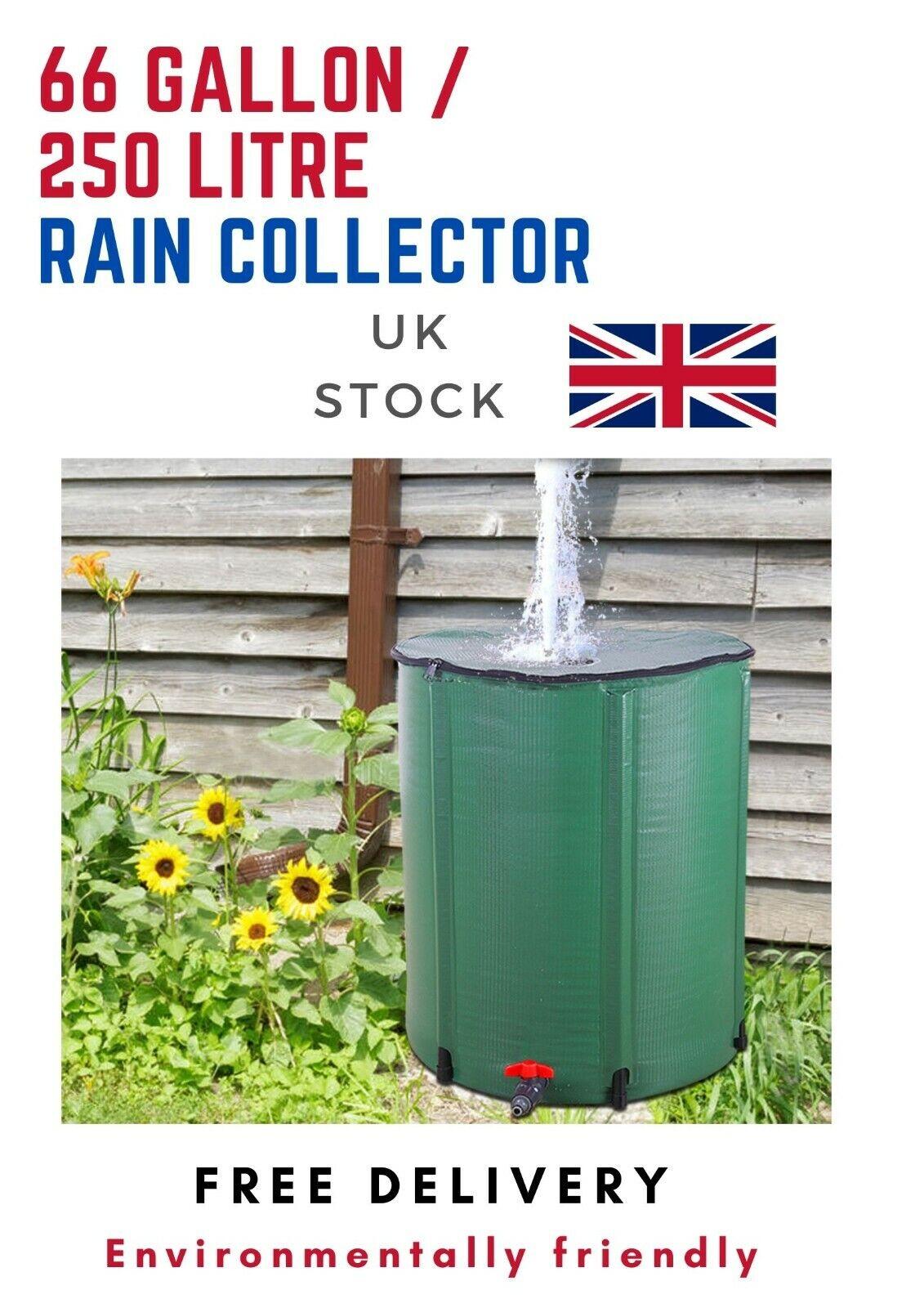 250 Litre [66 Gallon] Folding Rain Collector Barrel Garden Or Farm Recycle Tank
