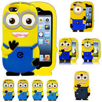 Cute 3D Cartoon Happy Minions Soft Case Cover for iPhone LG Huawei Mobiles Best
