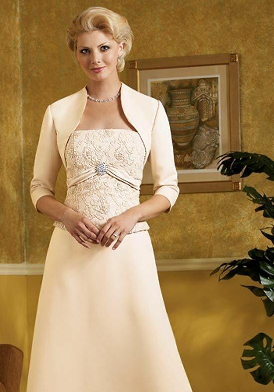 Caterina MOTHER OF BRIDE Dress Cream Satin & Lace w/ Bolero Jacket WOMENS 12