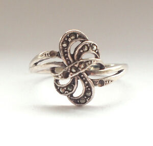 Stunning-Art-Deco-925-Sterling-Silver-Marcasite-Ring-8-P-Vintage-Retro-Bow