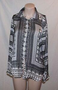 Zara-Bluse-tolles-Muster-schwarz-beige-Seide-Gr-L-Top-Zustand