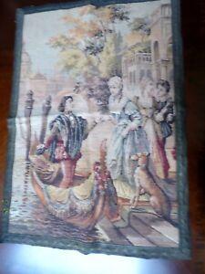 VTG Italian Tapestry Venice Romantic Young Couples Gondola