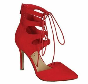 red lace up stiletto heels