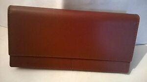 Portefeuille Standing Neuf, Cuir Vachette lisse de luxe marron, made in Spain