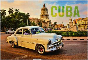 Cuba-Kuba-Oldtimer-white-Blechschild-Schild-gewoelbt-Metal-Tin-Sign-20-x-30-cm