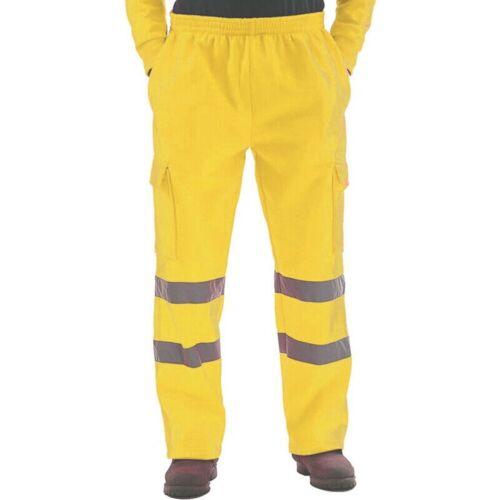 Men Hi Viz Vis Visibility Work Fleece Bottoms Safety Pants Elasticated Trousers