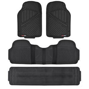 Black 4pc Rubber Floor Mat Car Suv