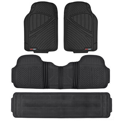 All Weather 4pc Rubber Floor Mat Black Heavy Duty BPA Free Car SUV Durable Liner