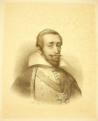 Lithographie Portrait Du Prince Henri Ier De Bourbon-condé 1826 Artiste à Ident