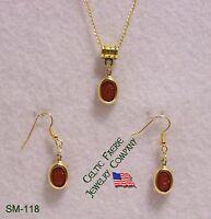 Sm-118 -dark Orange Acrylic Scarab On Gold Plated Setting Necklace/earring Set
