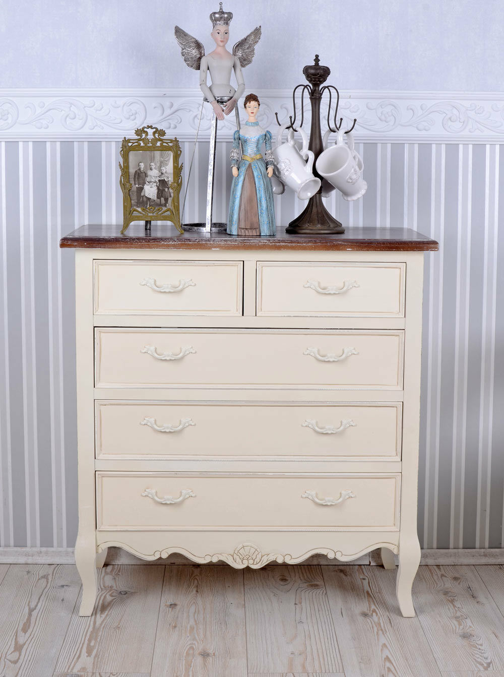 Nuit commode tiroirs Armoire Antique Commode Style Maison De Campagne Linge Commode Blanc