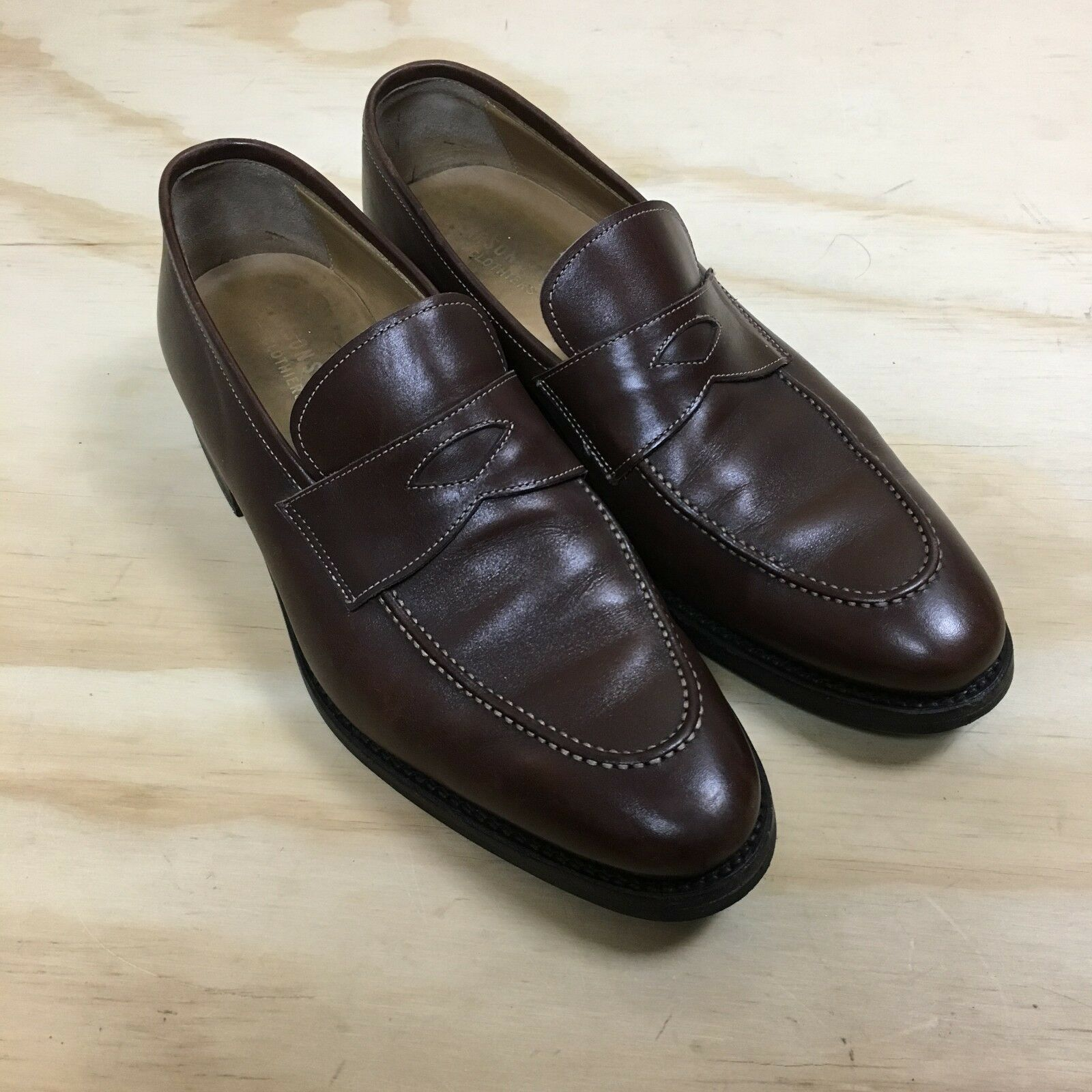 Carson Street Clothiers Brown Leather Moc Toe Penny Loafers Men's Size 9.5 A