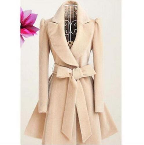 Fille Ceinture Doux Veste en laine Femme Mélange Laine Militaire Trench Coat Outwear chaud