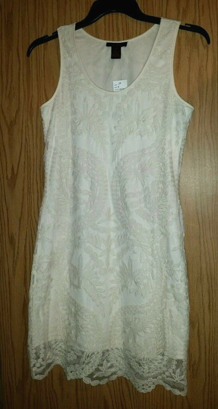 New w tag Natural Shade Lace IT'S PINK Sz M Dress Polyester Cotton Lined Classy