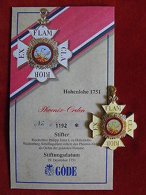 GÖDE Orden Hohenlohe 1751 - Phoenix Orden + Zertifikat Nr.1192