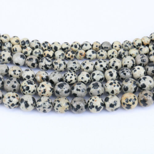 "Wholesale 15/"" Dalmation Jasper Gemstone Loose Spacer Beads Jewelry Making 4-10MM"