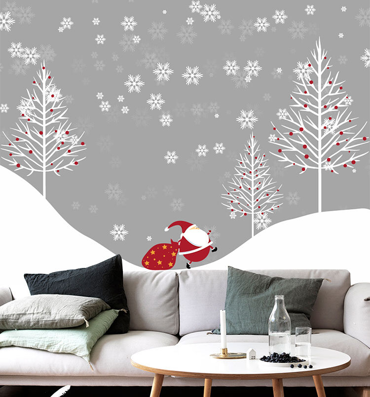 3D Christmas Weiß tree Wall Paper Wall Print Decal Wall Indoor wall Murals