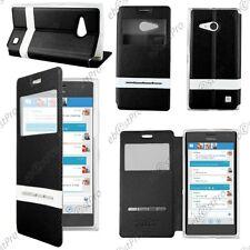 Accessoire Housse Coque Etui S-View Flip Cover Noir Nokia Lumia 735 730 dual