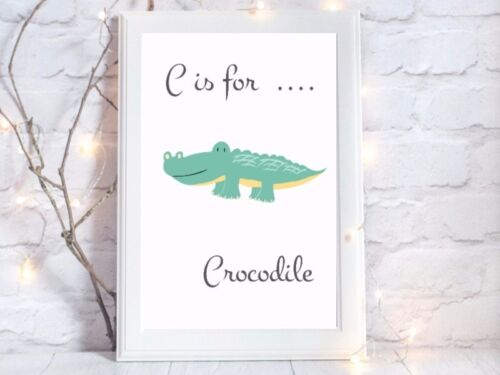 c is for crocodile Print nursery a4 glossy picture gift wall art unframed