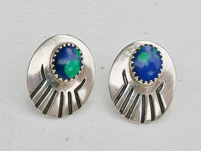 "Southwestern SE Signed 3/4"" Sterling Silver Concho Azurite Stone Post Earrings"