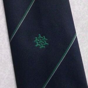 Adroit Vintage Cravate Homme Cravate Company Logo Crested Club Association Navy Green-afficher Le Titre D'origine